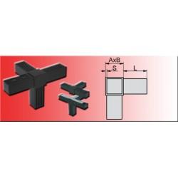 Connecteur à raccord en T avec sortie pour tube carré 20x20x1.5