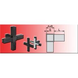 Connecteur en croix avec sortie pour tube carré 20x20x1.5